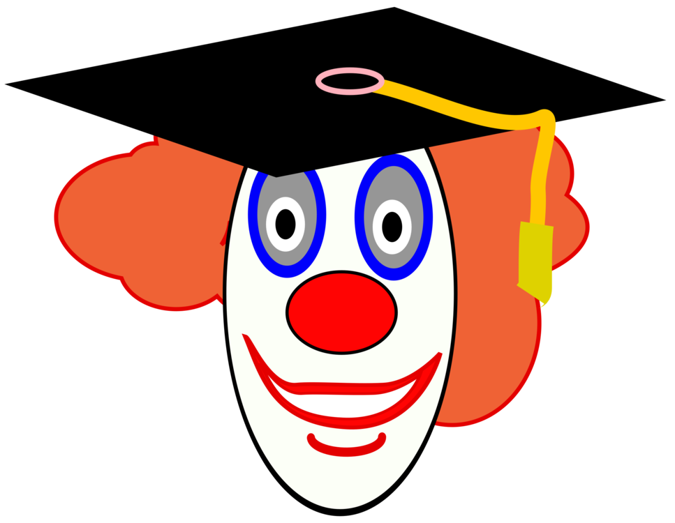 Graduate drawing. Evil clown graduation ceremony
