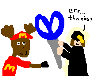 Graduate drawing animated. Mcdonal moose gives giant