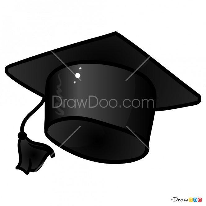 Graduate drawing graduated boy. How to draw hat