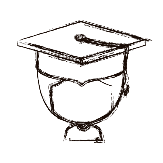 Graduate drawing graduated boy. List of synonyms and