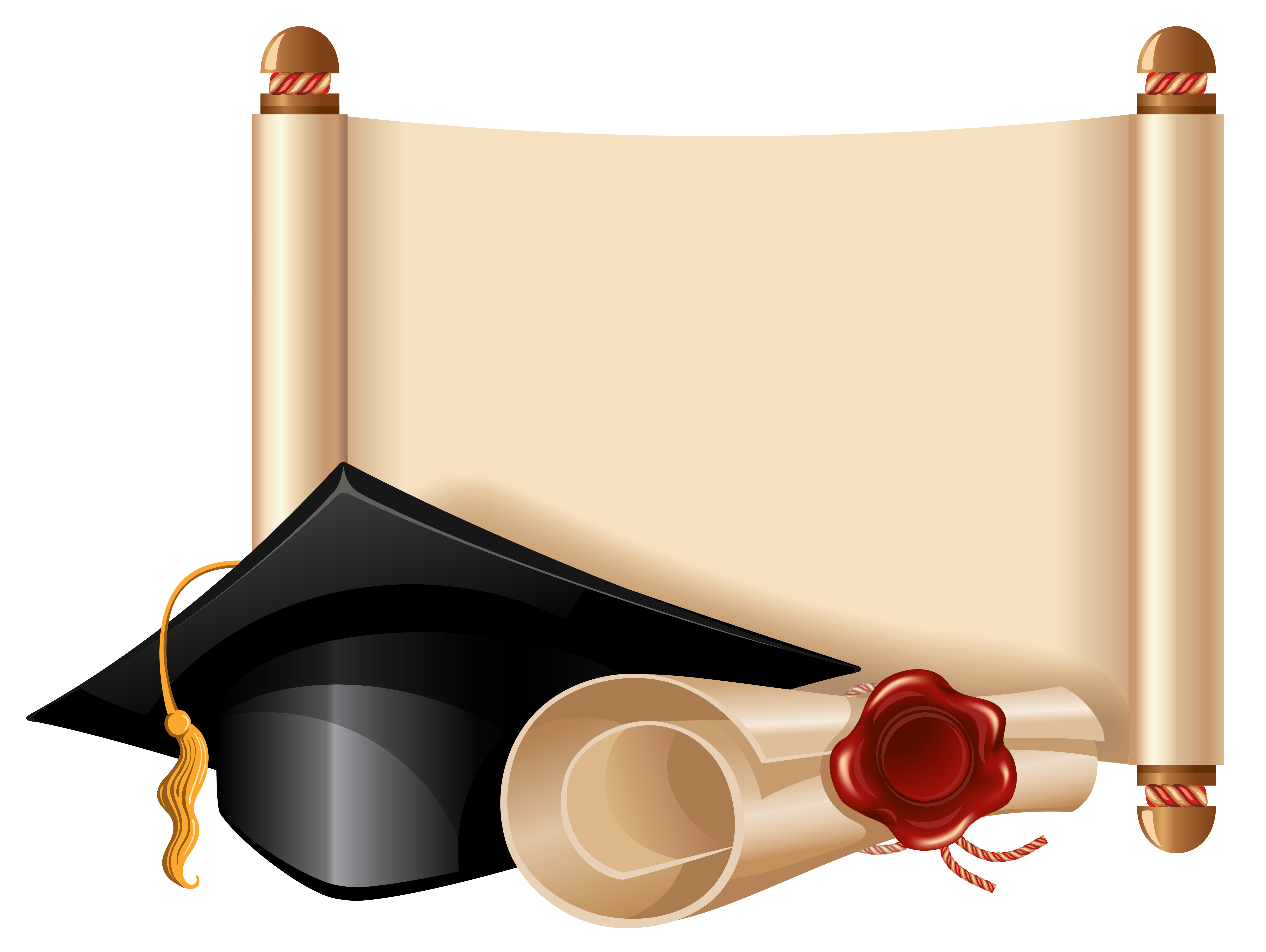 Graduation png images. Diploma and cap clipart