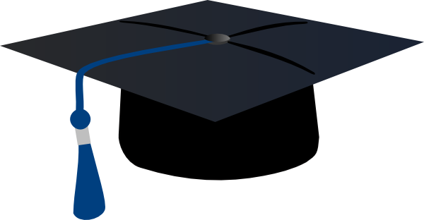 Birrete vector de graduacion. Graduation hat with blue