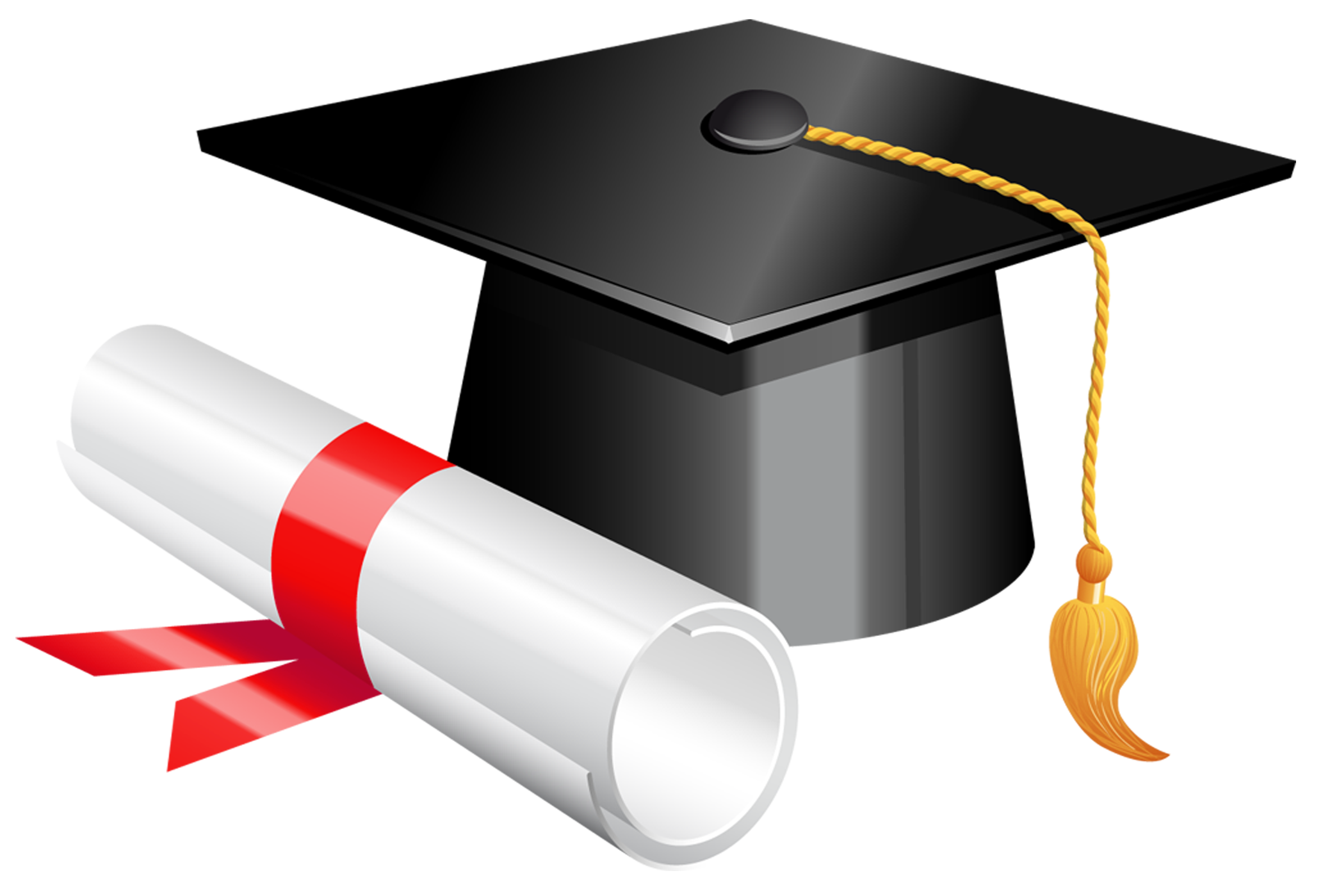 Graduation png frame. Cap and diploma clipart