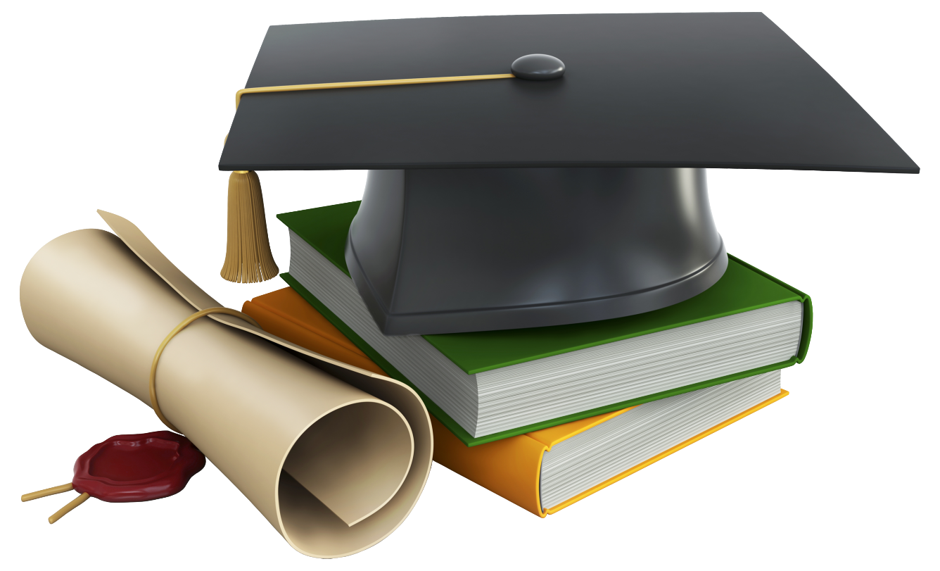 Graduation png images. Cap books and diploma