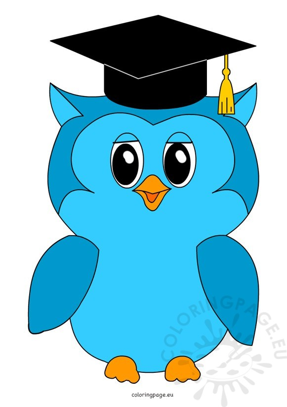 Graduation clipart owl. Coloring page
