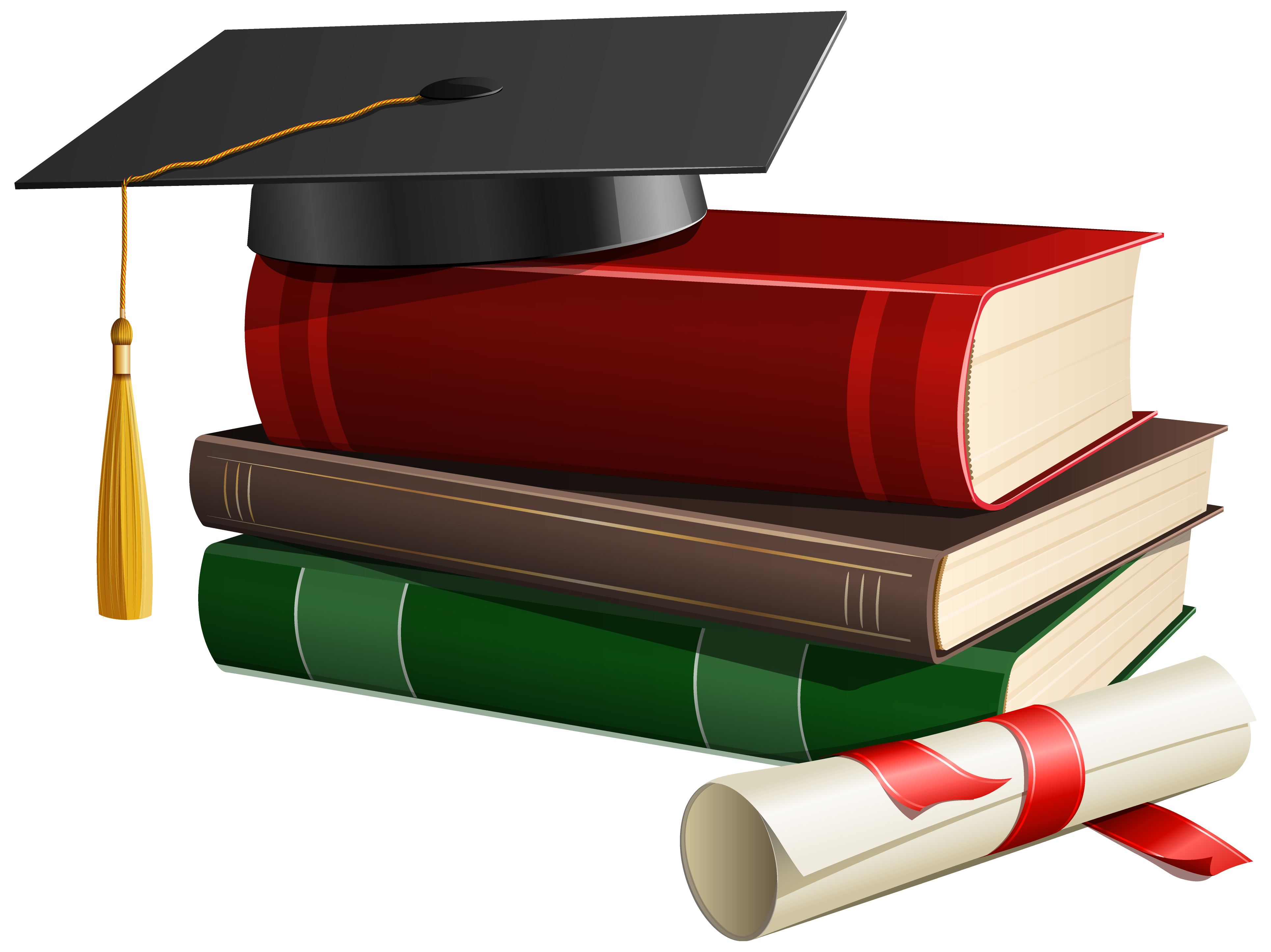 Graduation clipart png. Cap books and diploma