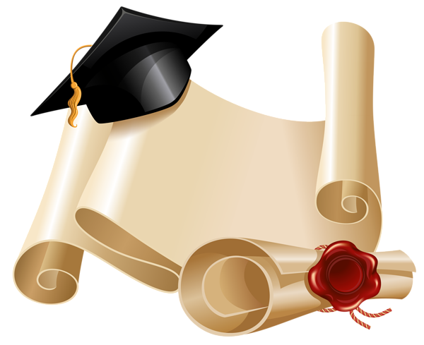 Graduation png frame. Diploma and hat clipart