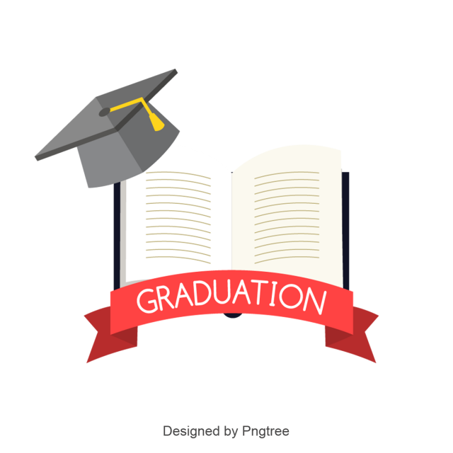Graduation vector png. Learning book and