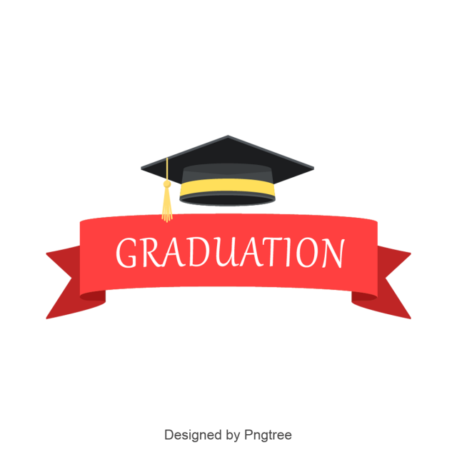 Graduation vector png. Red ribbon and for