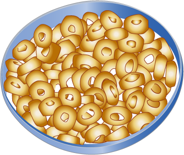 Transparent cereal cartoon. Cheerios in a bowl