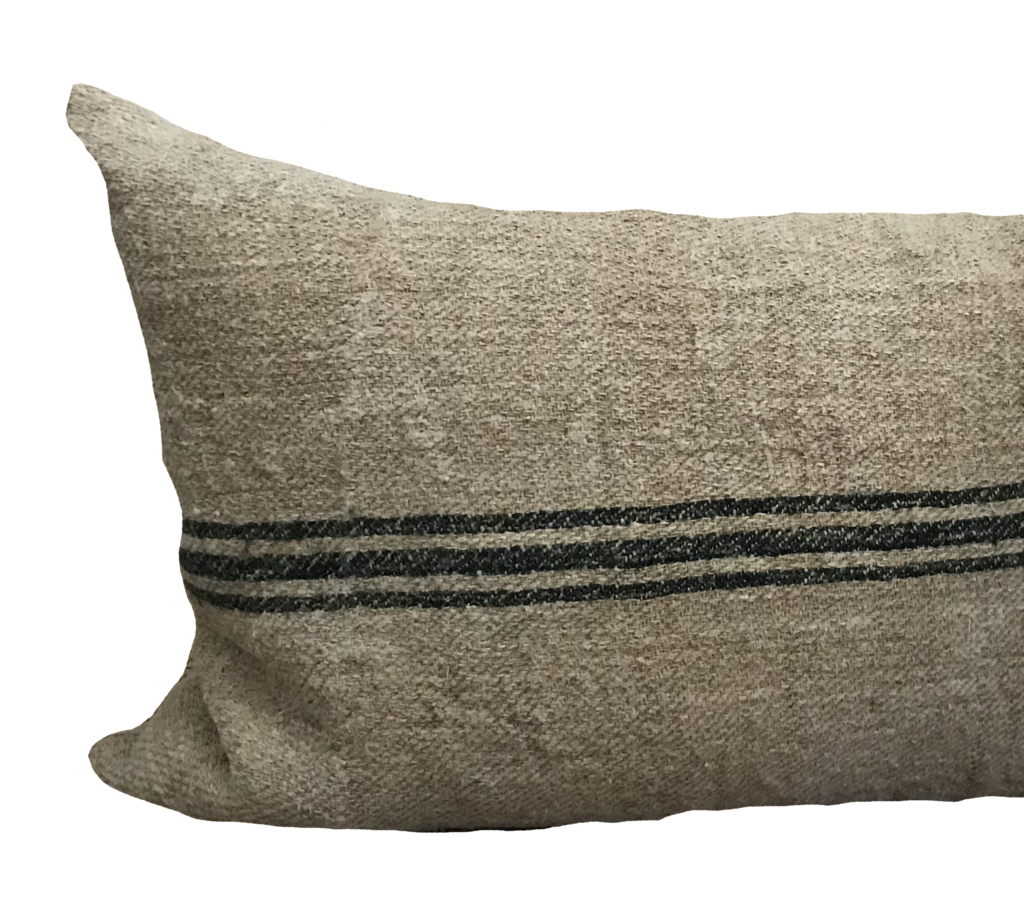 Grain sack png. Vintage green stripe pillow