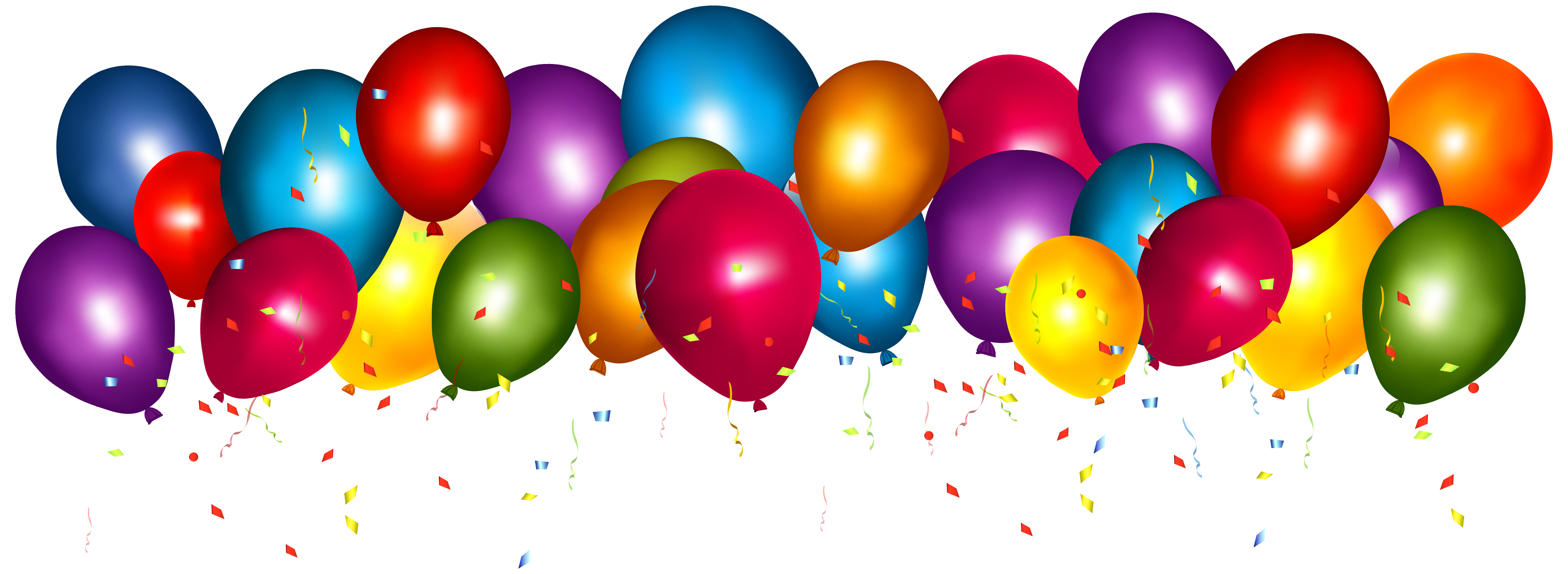 Grand opening balloons png. Transparent colorful with confetti