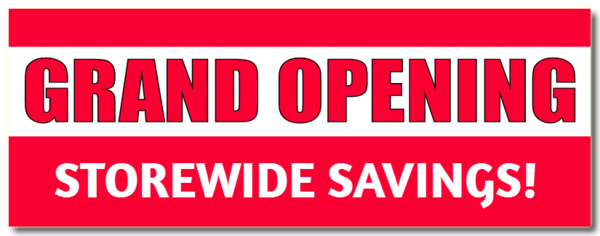 Grand opening banner png. Sale design and buy