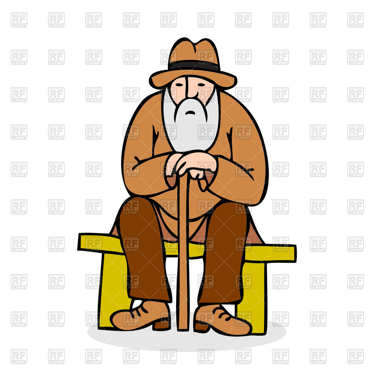 Funny with a long. Grandfather clipart jpg black and white stock