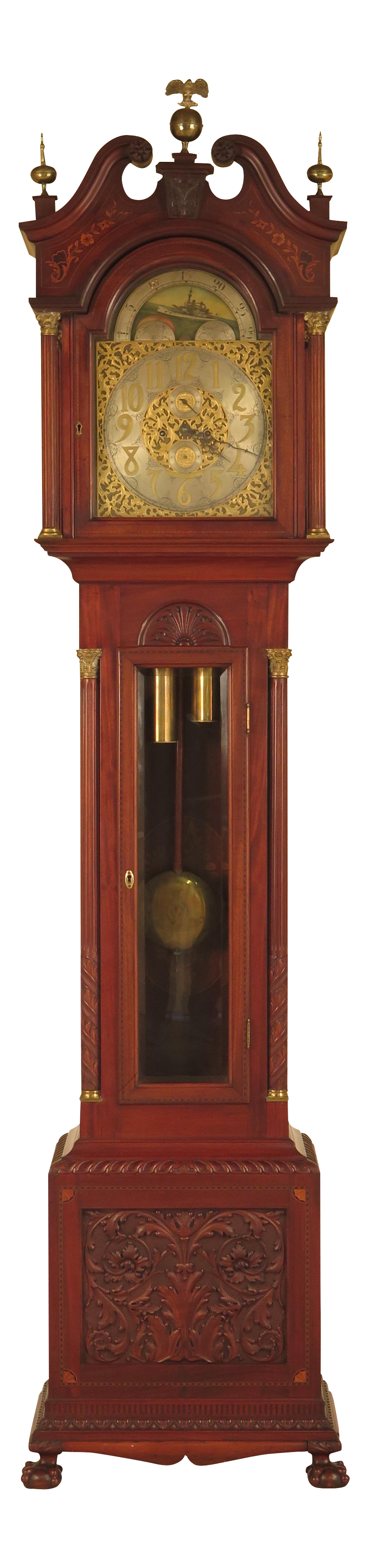 Grandfather clock png. Waltham antique carved inlaid