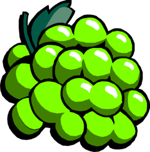Green clipart. Group with items grapes