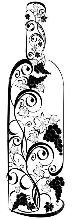 Grapevine clipart dionysus. Stylized wine bottle
