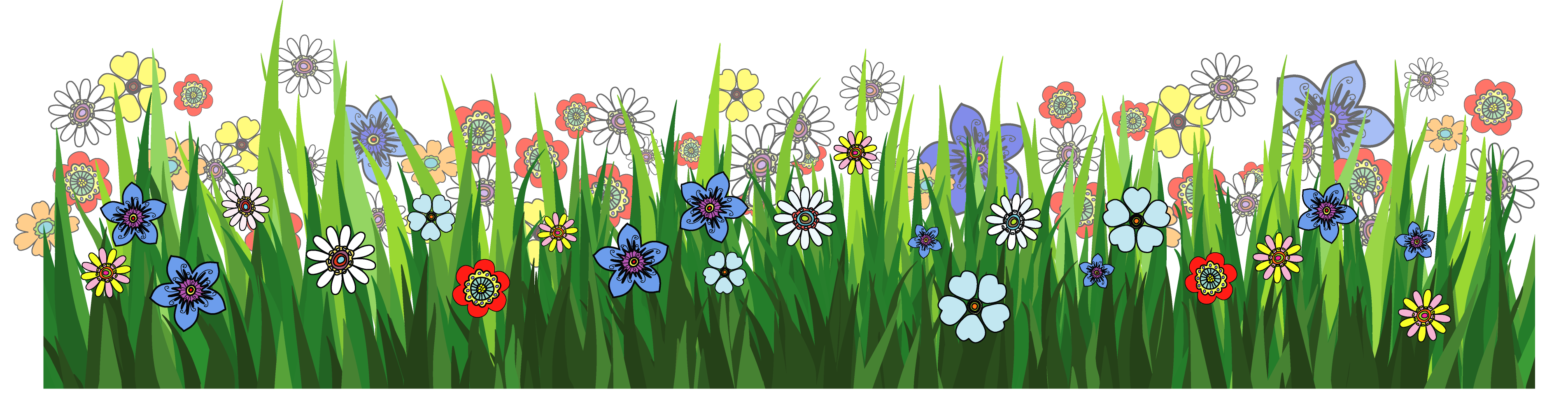 Grass cartoon png. Ground with flowers picture