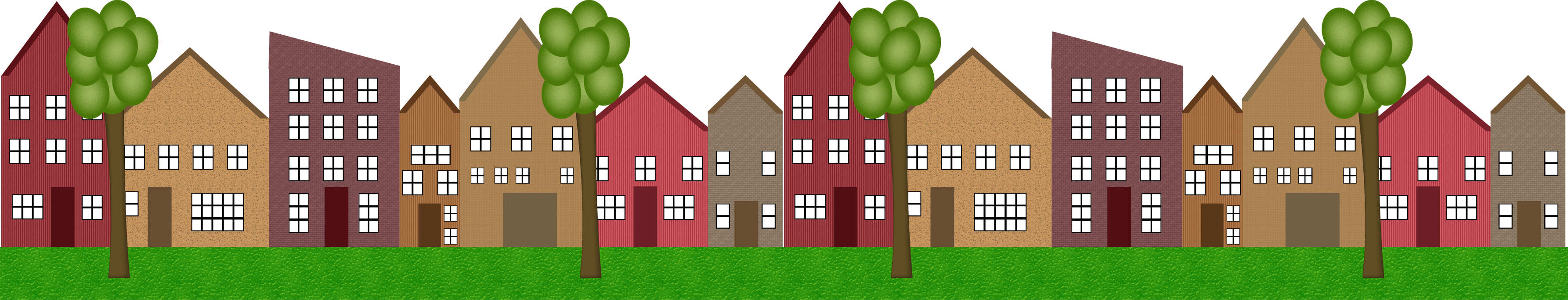 Grass clipart row. Of houses clipground png