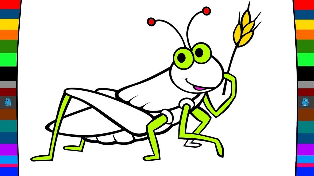 Grasshopper clipart bettle. Drawing for kids at