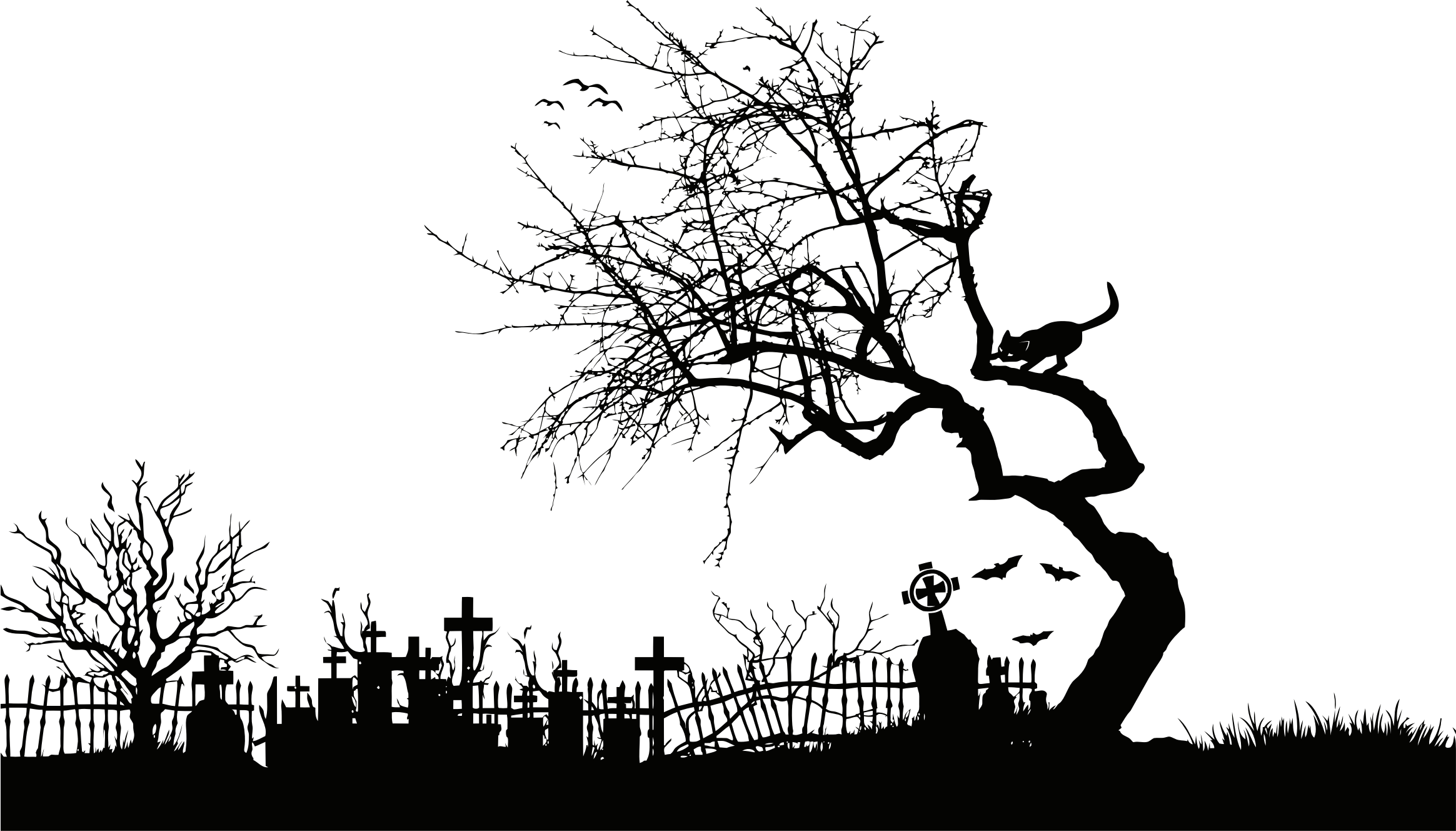 Graveyard clipart. Midnight silhouette isolated big