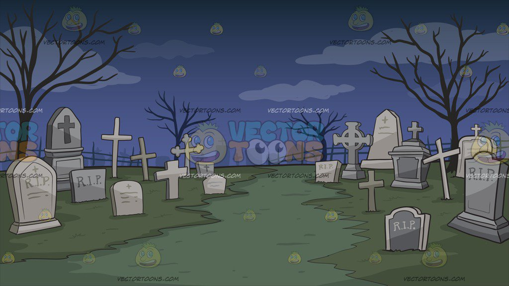 Graveyard clipart. A background cartoon vector royalty free