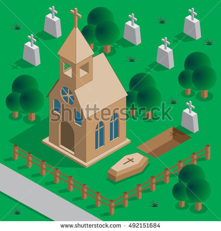 Graveyard clipart church cemetery. Dig grave isometric vector image black and white download