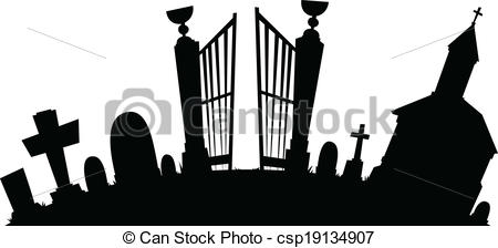 Cartoon silhouette of a. Graveyard clipart picture transparent library