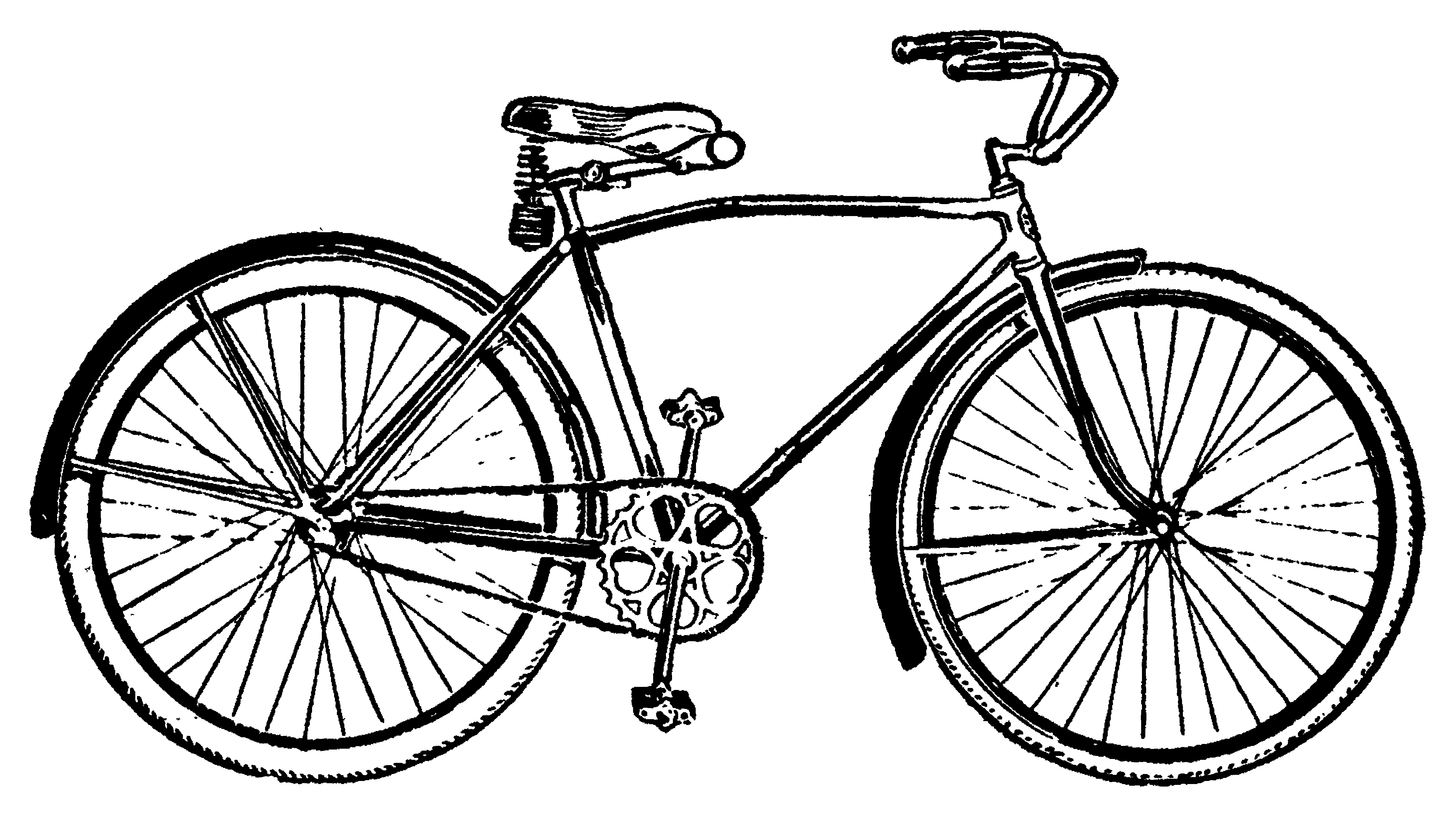 Gray bicycle. Vintage clipart clip art