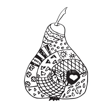 Gray pear. Zentangle black and white