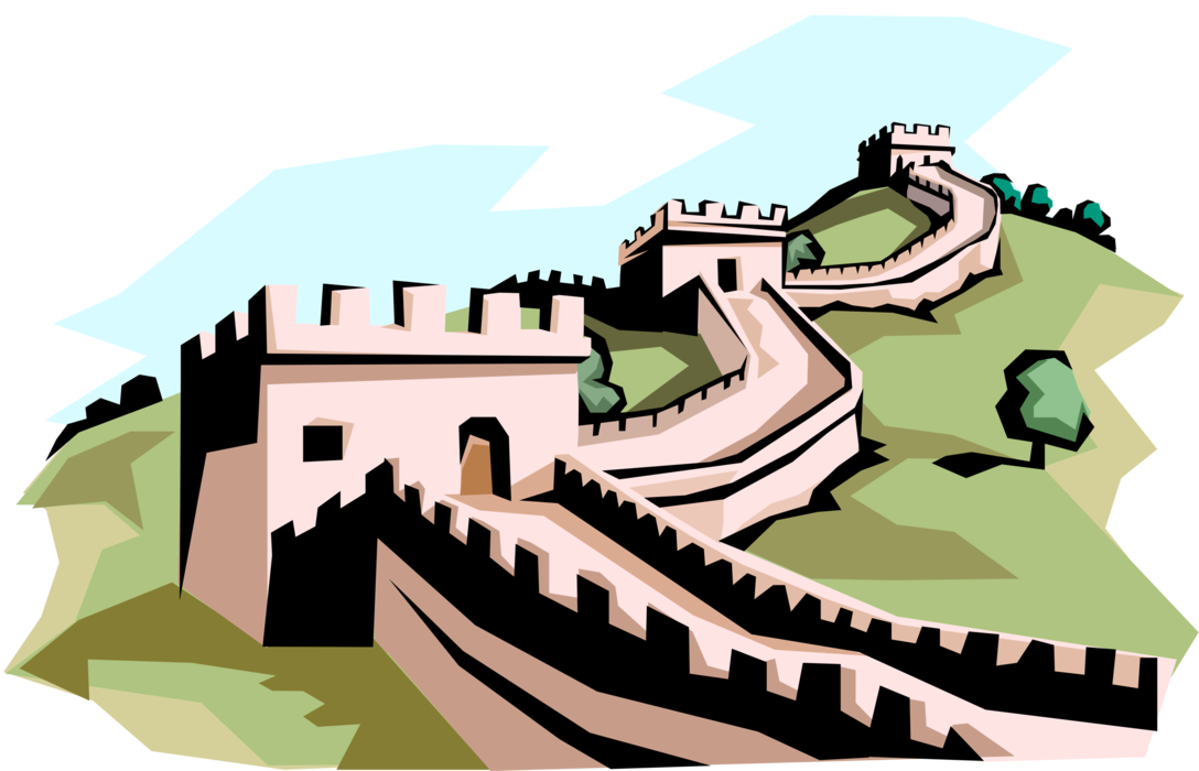 Great wall of china png. The vector image illustration