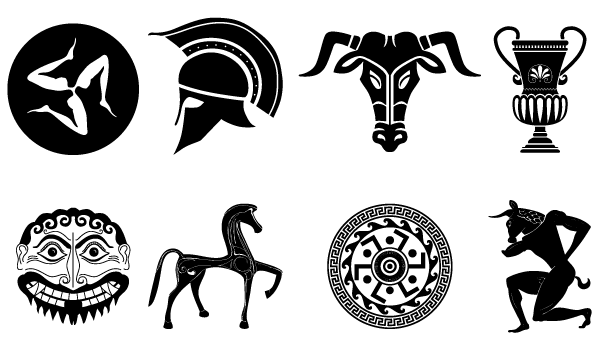 Greece clipart athens symbol. Old vector pack of