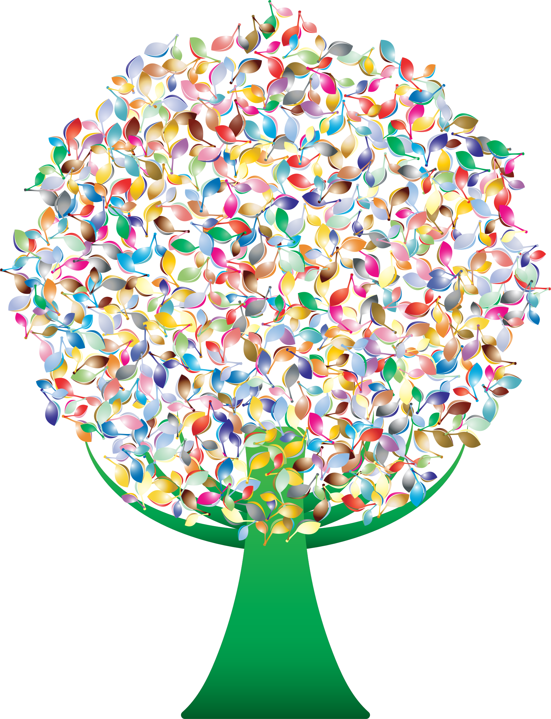 Prismatic tree no icons. Green abstract background png vector library library