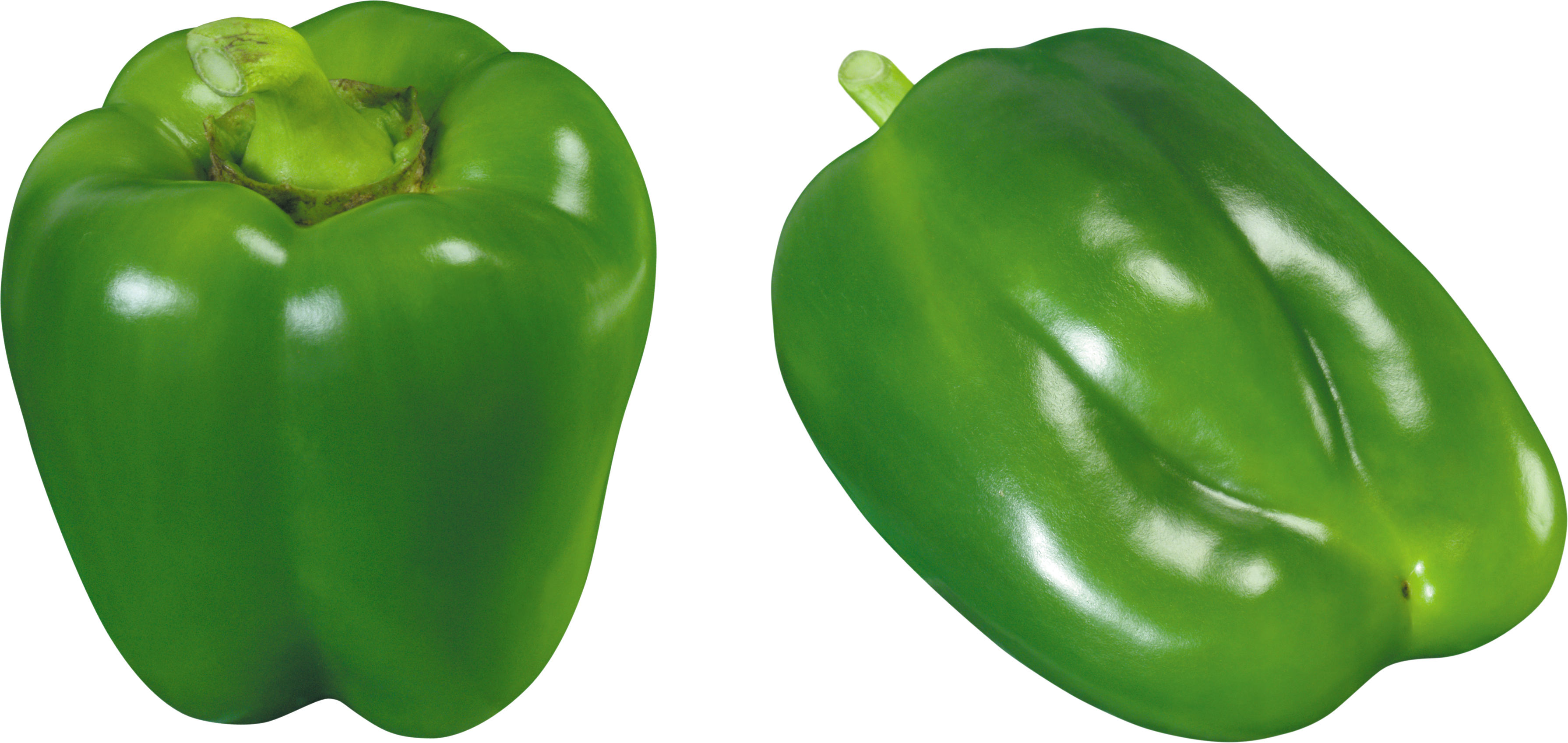 Green bell pepper png. Three isolated stock photo