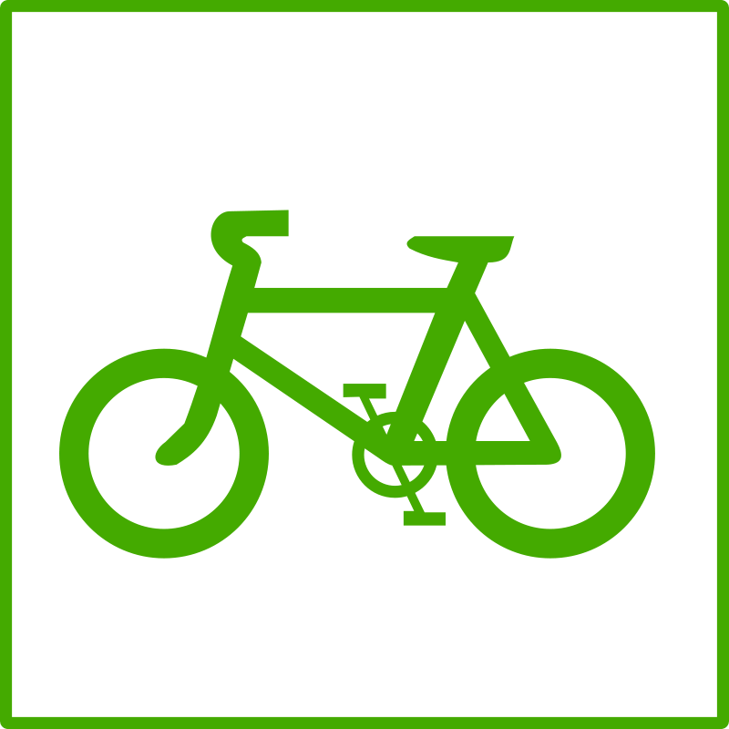 Green bicycle. Free clipart eco icon