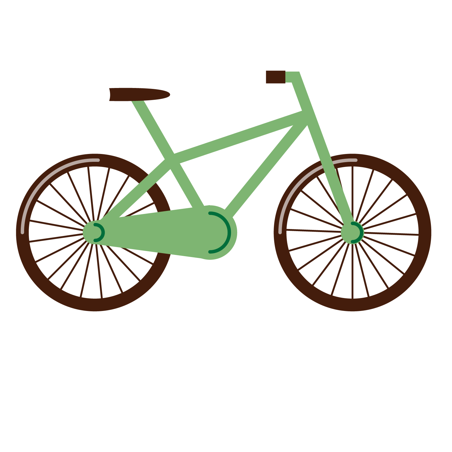 Green bicycle. Cycling clip art vector