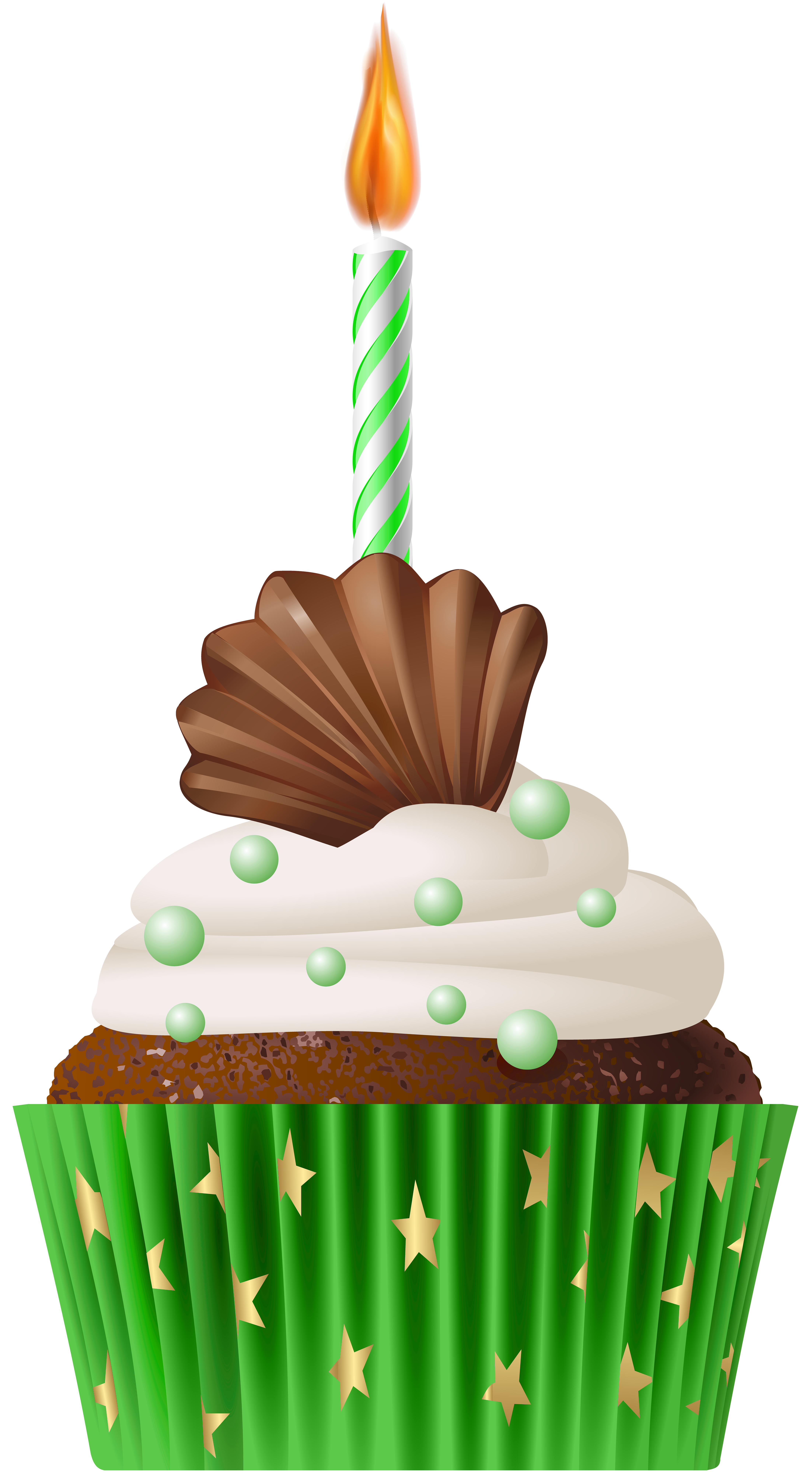 Green birthday png. Muffin with candle clip