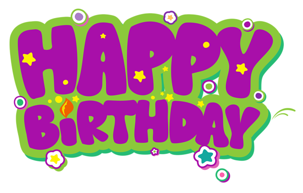 Green birthday png. Purple and happy clipart