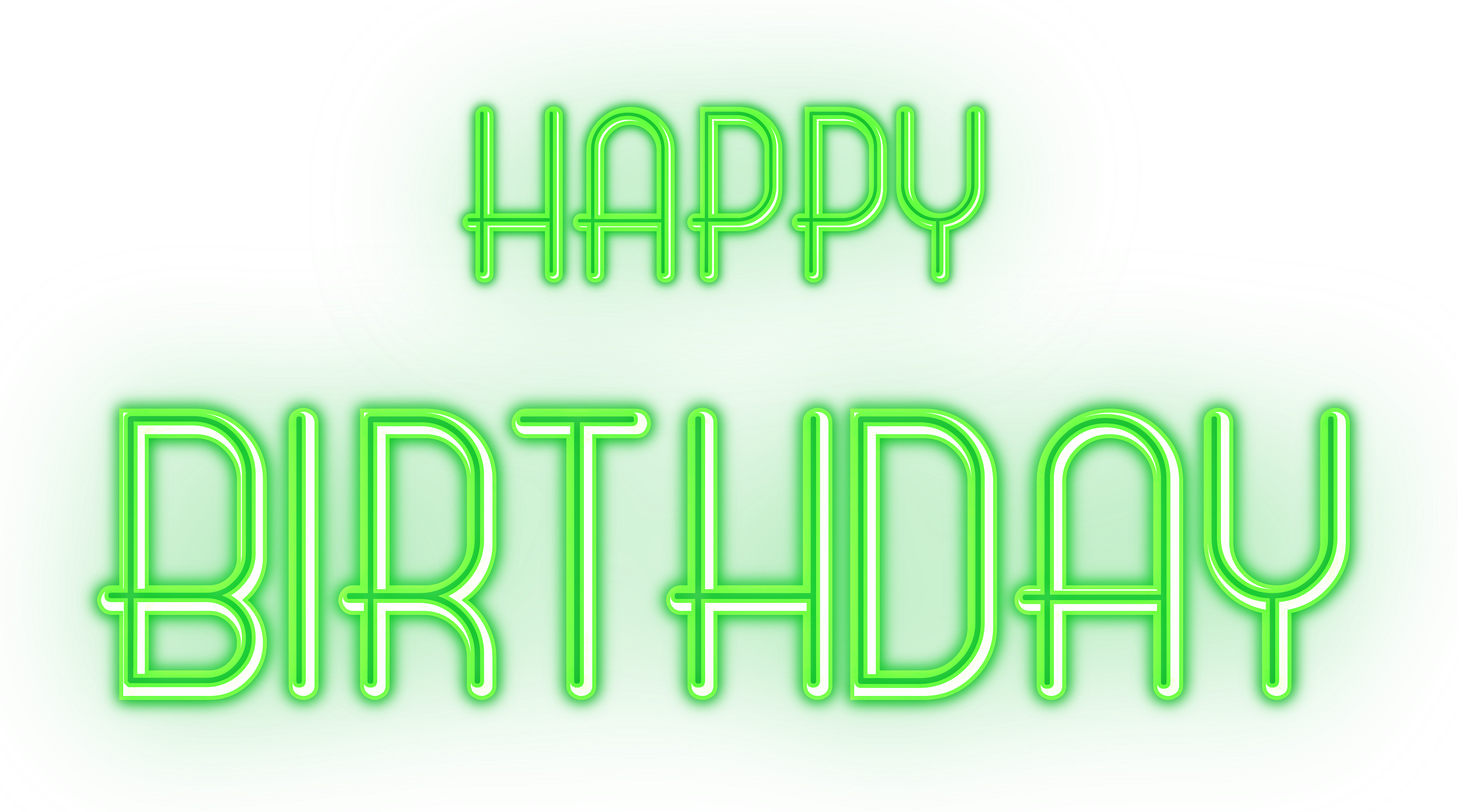 Green birthday png. Happy glowing text transparent