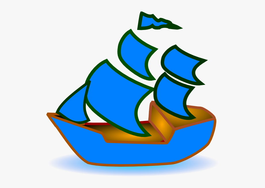 Green boat. Blue svg clip arts