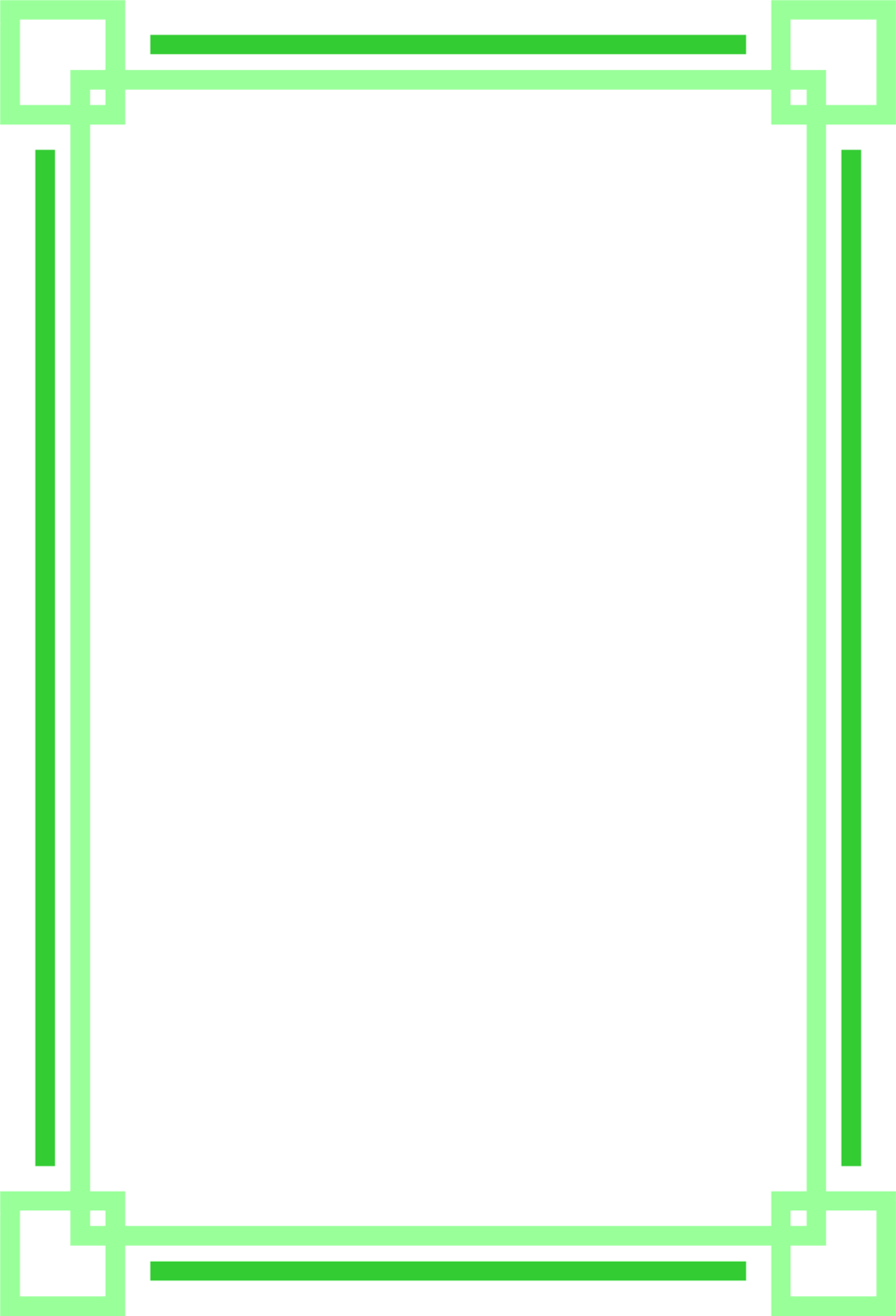 Green borders png. Illustration of a blank