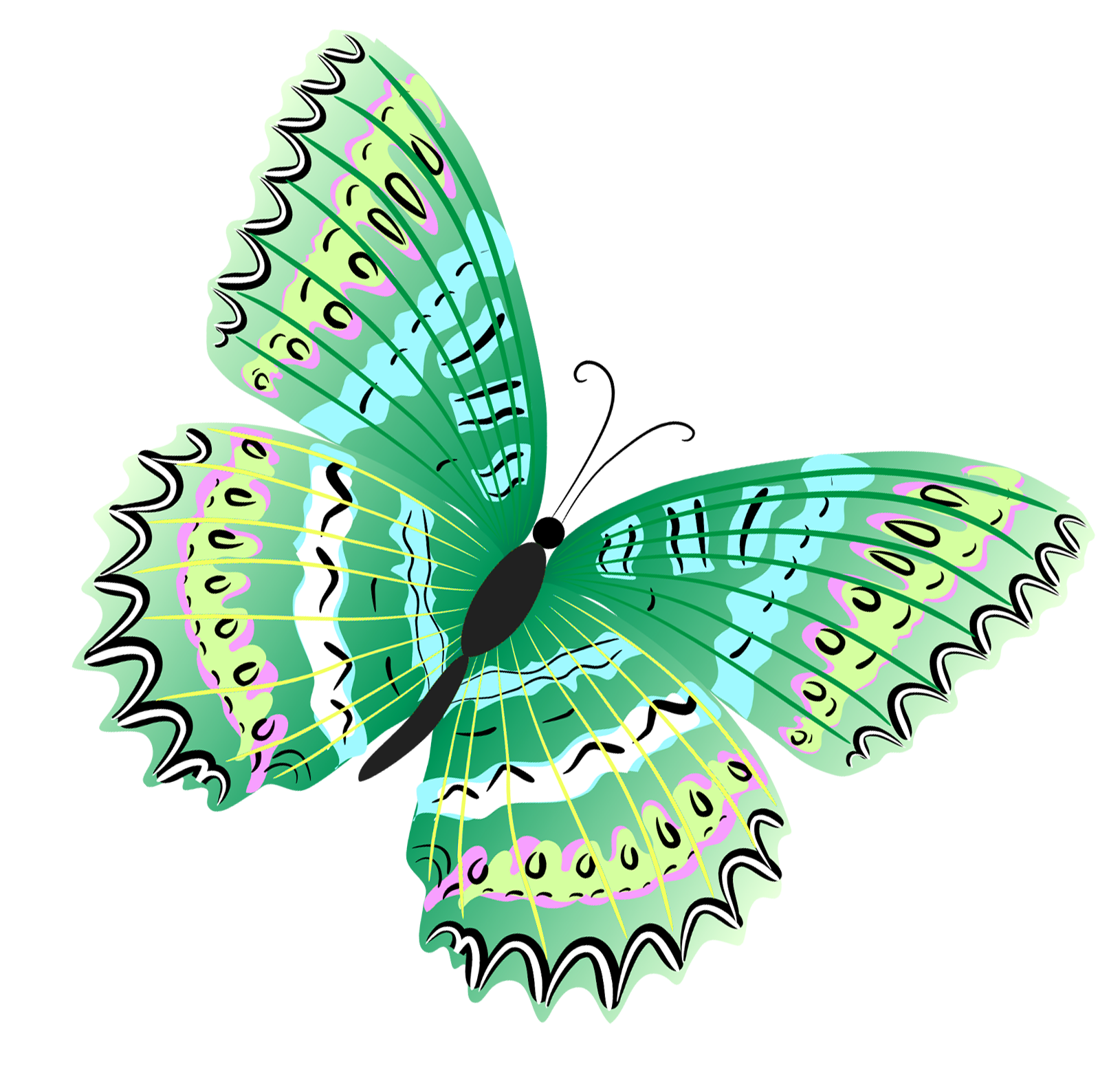 Green butterfly png. Clipart gallery yopriceville high