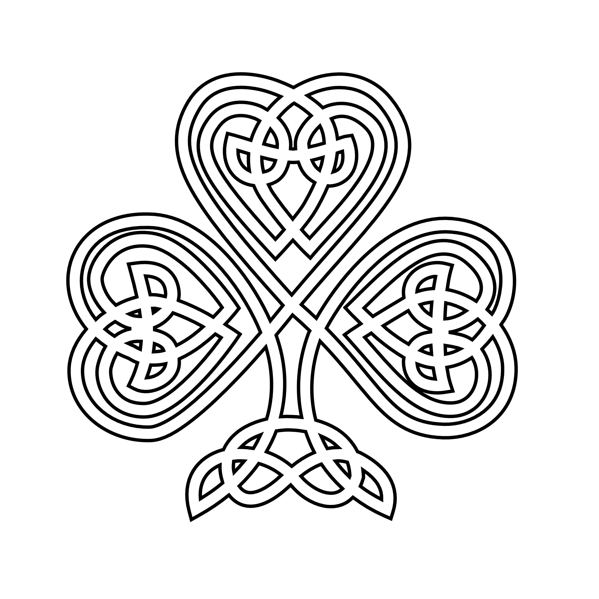 Green celtic cross png. Shamrock black white line