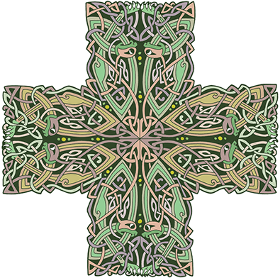 Green celtic cross png. Irish designs by john