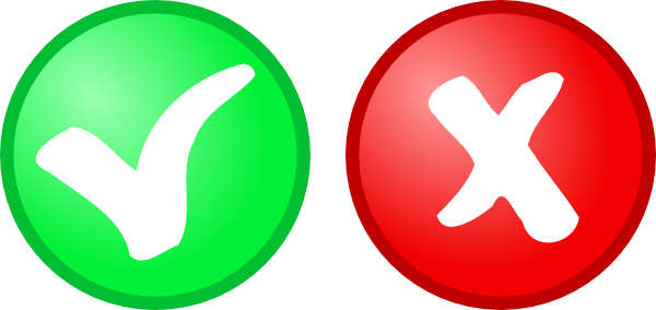 Green check red x png. Ok not icons clip