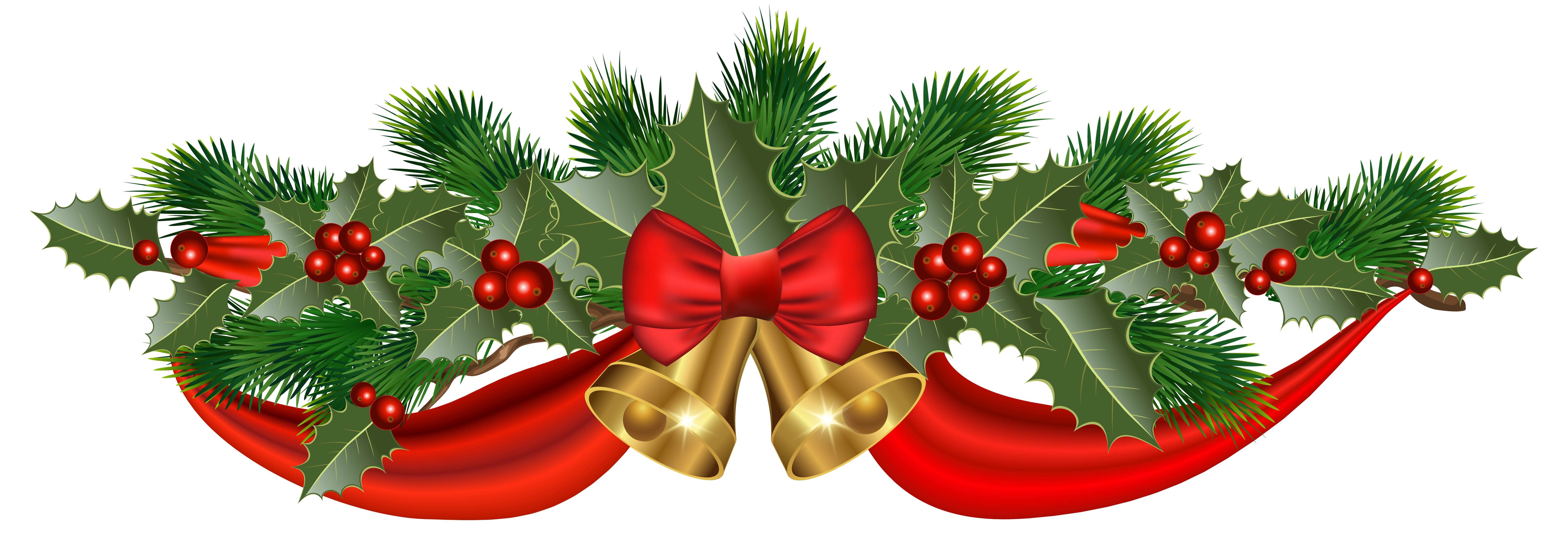 Green christmas ribbon png. Golden bells and clipart