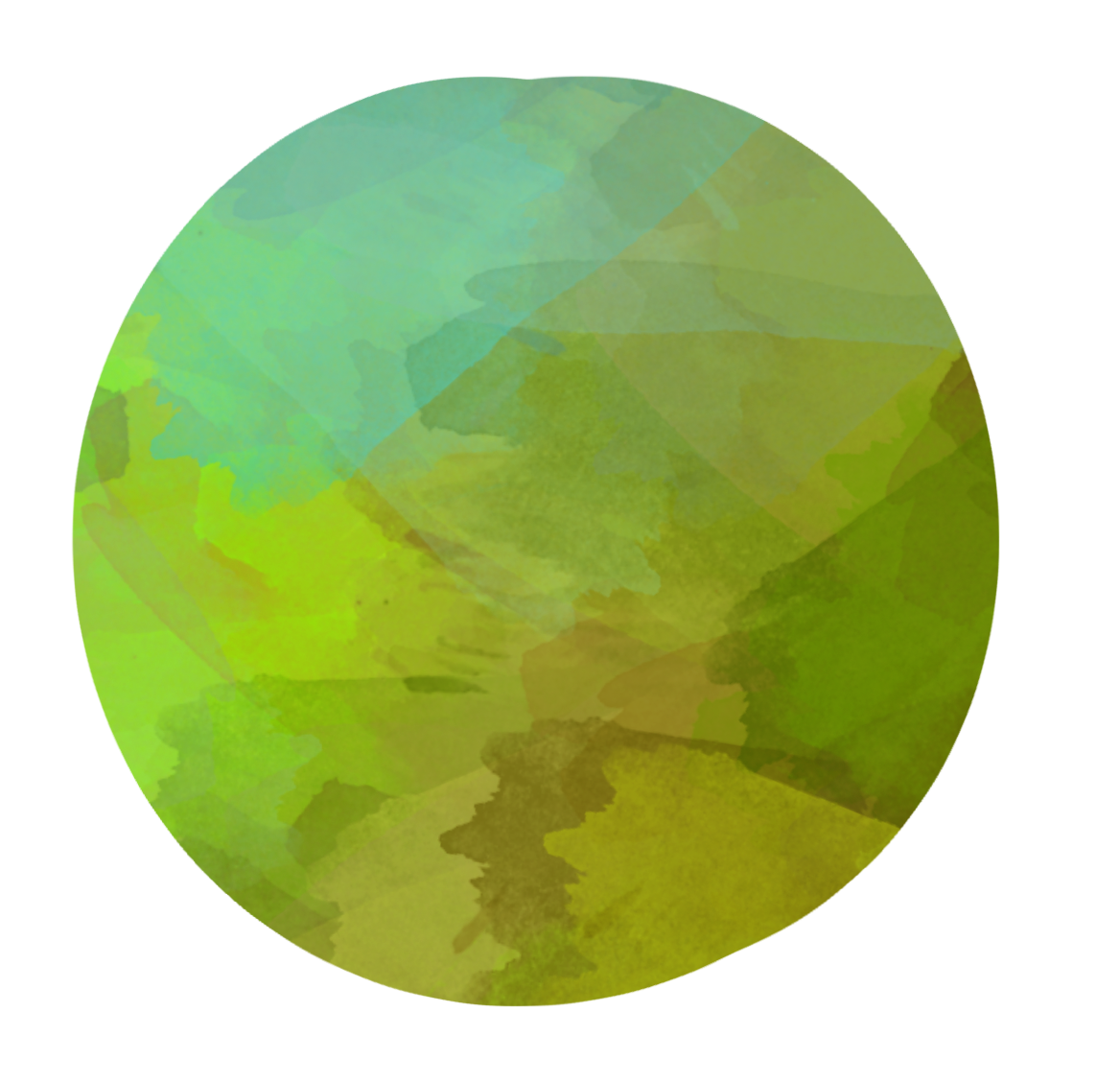Green circle. Watercolor lime clipart