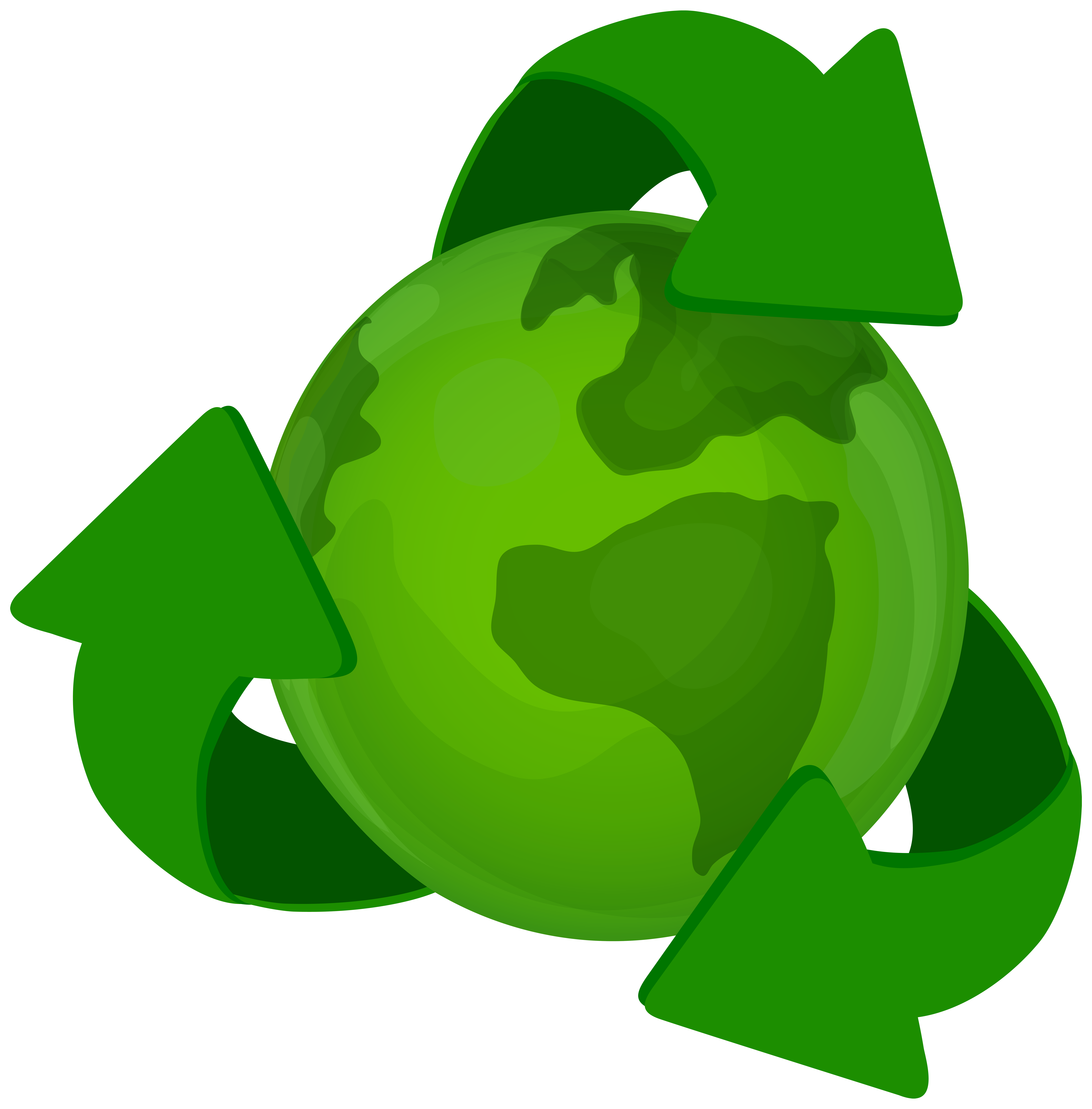 Green earth png. Planet with recycle symbol