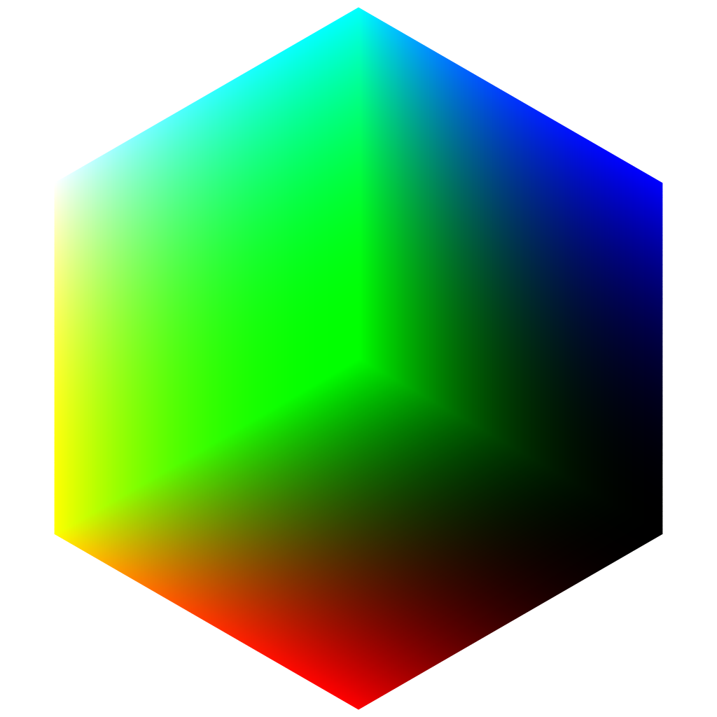 Green cube png. File rgb colorcube corner