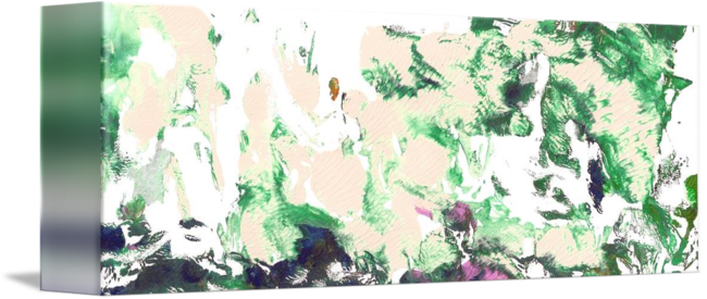 Green drawing abstract. And pink garden panorama